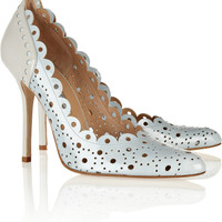 Oscar de la Renta | Perforated two-tone patent-leather pumps | NET-A-PORTER.COM