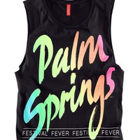 Neon Palm Springs Print Tanks