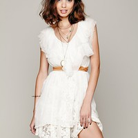 Free People Godet Deep V Ruffle Tunic