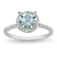 Miadora 10k White Gold Blue Topaz and Diamond Ring | Overstock.com