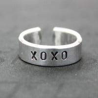 XOXO Ring, Hugs and Kisses Ring, Hand Stamped Aluminum Cuff Ring, Hug Kiss Love Friendship Jewelry, Personalized Ring