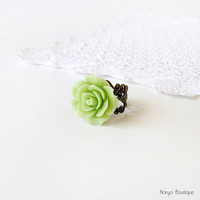 Green Rose Cabochon Ring - Antique Brass Filigree Adjustable Ring