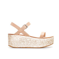 NAPPA LEATHER WEDGE WITH GLITTER PLATFORM - Woman - New this week | ZARA United Kingdom
