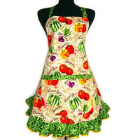 Vegetable Garden Apron , Retro Kitchen Decor , Tomatoes , Greenbeans , Adjustable with Pocket and Ruffle