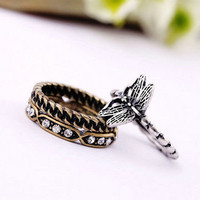 Wholesale Vintage Rhinestone Dragonfly Band Ring Set of 3