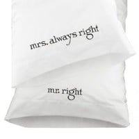 Hortense B. Hewitt Wedding Accessories Mr. and Mrs. Right Pillowcases, Set of 2:Amazon:Home & Kitchen