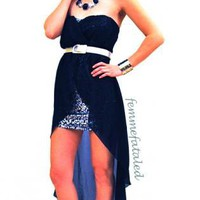 Black Hi-Low Dress with Silver Sequin Mesh Dress