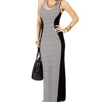 Black/White Stripe Colorblock Maxi Dress