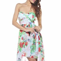 White Floral Hi-Low Dress with Sweetheart Neckline