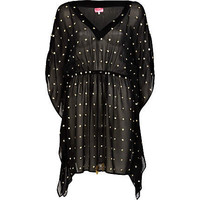 Black embellished sheer caftan - cover-ups - swimwear / beachwear - women