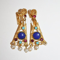 Vintage Earrings Gold Gilt Lapis Rhinestone Peaarl Drop 1950s  Jewelry