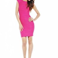 Fuschia Textured Bodycon Dress