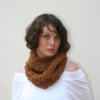 Chunky Cowl Scarf Crochet Neck Warmer / The Cambridge / Hazelnut or Choose Your Color