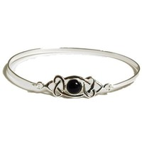 925 Silver & Black Onyx Celtic Design Bangle