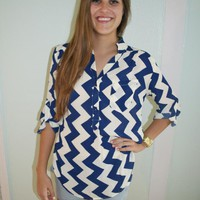 Chevron Navy and White Blouse