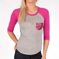 Monteau Juniors Raglan Tee with Sequin Pocket at Von Maur