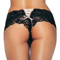 Butterfly Lace Hipster Shorts Panty Sexy Lingerie Intimate Apparel With Ribbon Lace Up Back