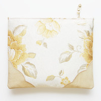 GENTLE/ Brocade & Leather clutch