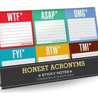 Honest Acronyms Sticky Note Packet - Whimsical & Unique Gift Ideas for the Coolest Gift Givers
