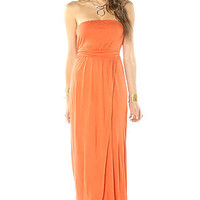 Quicksilver Strapless Dress in Orange