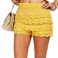 Yellow Crochet Shorts