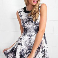 White and Black Sleeveless Floral Print Party Dress