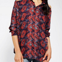 Urban Outfitters - Sparkle & Fade Medallion Print Cutout Shoulder Blouse