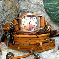 Wrap around Brown wrist watch with bird and key charms, vintage style handstitched leather watch bracelet