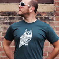 Horned Owl men's t-shirt, Large shirt forest green pixel geek, american apparel