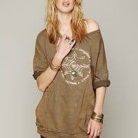 Free People Graphic Rolled Sleeve Pullover