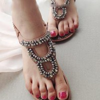 Summer Collection: Bohemian Jeweled Sandals Nude from AlisonSman