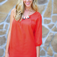 Leave Me Breathless One Shoulder Dress: Red | Hope's