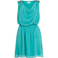 Turquoise embellished shoulder cowl dress - party / evening dresses - dresses - women