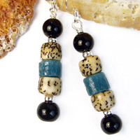 Blue African Glass Black Obsidian Tribal Style Earrings Handmade OOAK