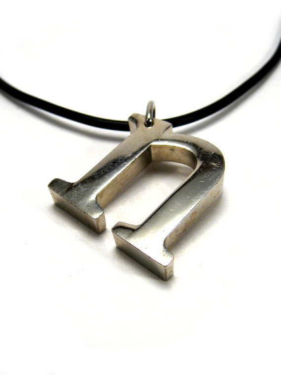 Initial necklace, letter N monogram necklace, unisex