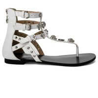 White Skull&Stud Embellished Ankle Sandals with Multi Straps