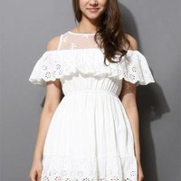 White Eyelet Lace Mini Dress with Scrolled Trim Detail