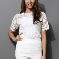 White Short Sleeve Floral Embroidered Top