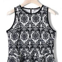 Black Baroque Print Sleeveless Top