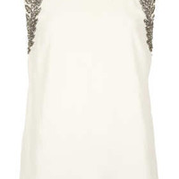 Leaf Embellished Open Back Top - Tops  - Clothing
