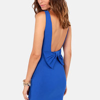 Bow Do You Do? Royal Blue Backless Dress