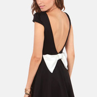 Flare-est of Them All Backless Black Dress