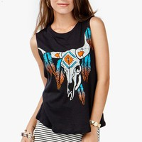 Feather Trim Bullhead Muscle Tank