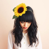 summer yellow sunflower headband  summer festival by kisforkani