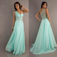 2014 One-Shoulder Chiffon Prom Formal Party Evening Pageant Dresses Wedding Gown