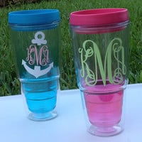 Ombre Monogram Tumbler / Travel Mug with Sip Lid