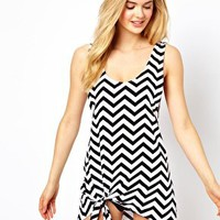 ASOS Chevron Print Knot Jersey Beach Dress at asos.com