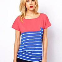 Mango Colourblock Stripe Woven Tee at asos.com