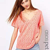 ASOS PETITE Bright T-Shirt in Texture with V Neck at asos.com