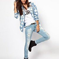 Only Star Print Denim Shirt at asos.com